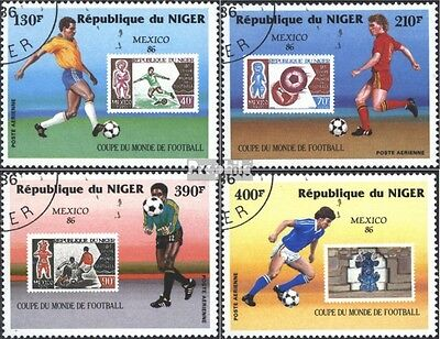 Niger 991-994 (complete issue) used 1986 World Cup, Mexico