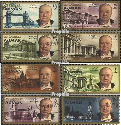 Ajman 85A-92A (complete issue) used 1966 Winston Churchill