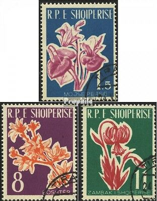 Albania 633-635 (complete issue) used 1961 Flowers