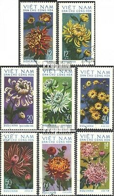 Vietnam 763-770 (complete issue) used 1974 Chrysanthemums