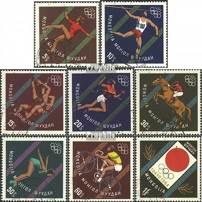 Mongolia 356-363 (complete issue) used 1964 olympic. Summer ´64