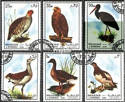 Sharjah 1184-1189 (complete issue) used 1972 Birds