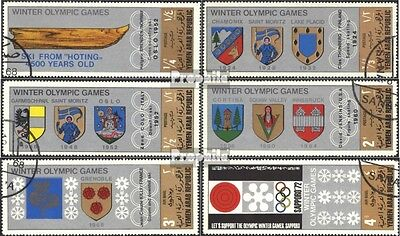 North Yemen 818-823 (complete issue) used 1968 Crest Venues Oly
