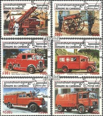 Cambodia 2162-2167 (complete issue) used 2001 Fire truck