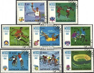 Ajman 247A-254A (complete issue) used 1968 olympic. Summer ´68,