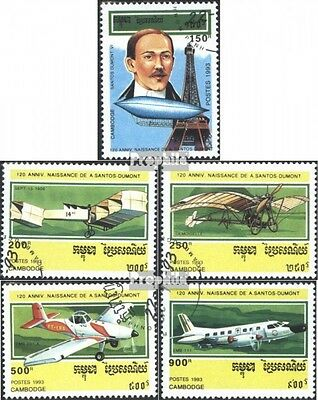 Cambodia 1371-1375 (complete issue) used 1993 Birthday A. Santo