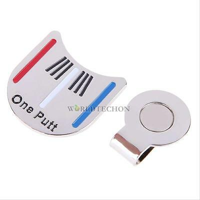 Golf Ball Marker Putting Alignment Aiming Tool with Magnetic Hat Clip Silver