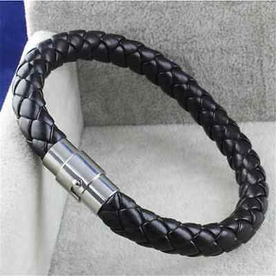 Vintage Unisex Men Women Leather Genuine Braided Steel Magnetic Clasp Bracelet