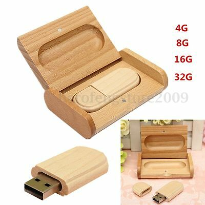 4~32 GB U Disk Wood Bamboo Case Cover + Wooden USB Memory Flash Drive Stick Gift