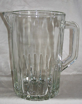 Large Glass Pitcher with Heavy Base / 64 Fl Oz 1980's Era Glass Beer Pitcher