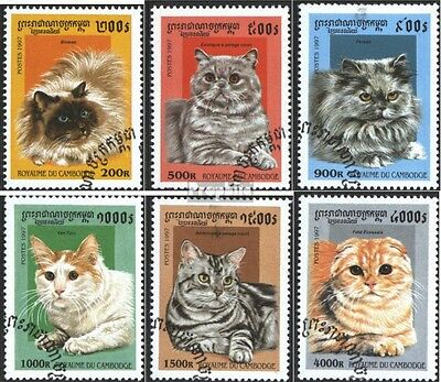 Cambodia 1717-1722 (complete issue) used 1997 Cat Breeds