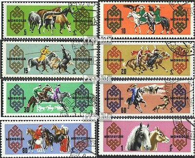 Mongolia 385-392 (complete issue) used 1965 Horse