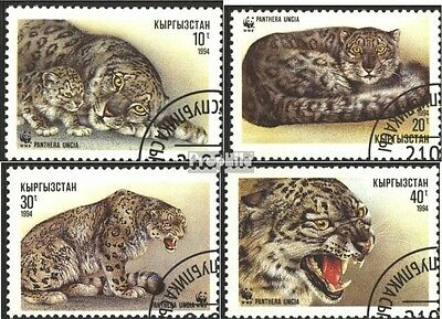 Kyrgyzstan 22-25 (complete issue) used 1994 snow leopard