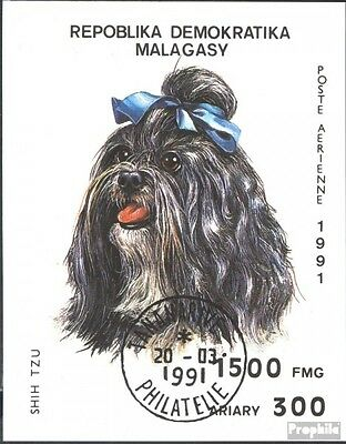 Madagascar block157 (complete issue) used 1991 Dogs
