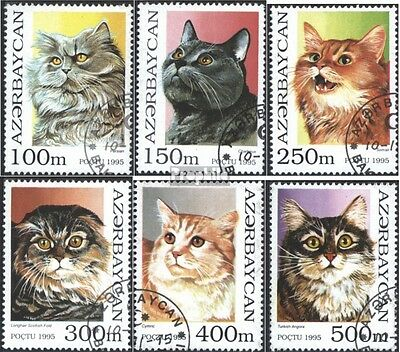 Aserbaidschan 262-267 (complete issue) used 1995 Cat Breeds