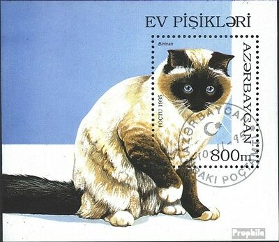 Aserbaidschan block18 (complete issue) used 1995 Cat Breeds