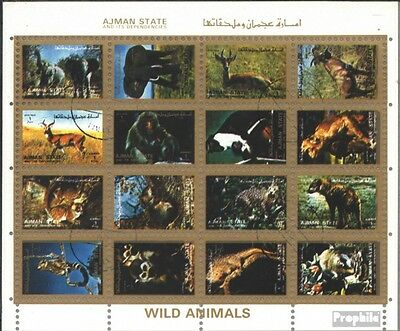 Ajman 2701-2716 Sheetlet (complete issue) used 1972 Mammals