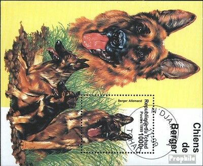 Chad new block1999 (complete issue) used 1999 Dogs