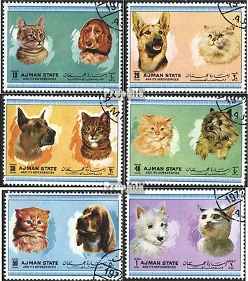 Ajman 1762-1767 (complete issue) used 1972 Dogs and Cats