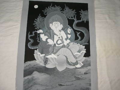 T317 Old Thangka Ganesha Hand Painted