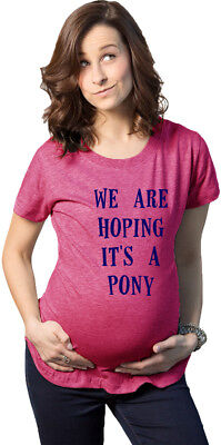 Women's We're Hoping It's A Pony Maternity T Shirt Funny Pregnancy Tee (Heather
