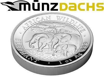 100 Shillings High Relief Elephant 1 oz fine Silver Somalia Proof 2013 only 1000