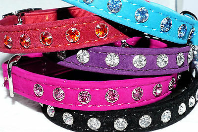 Cat Collar Kitten Velvet Diamante Safety Elastic 5 Colours Free Post Bell