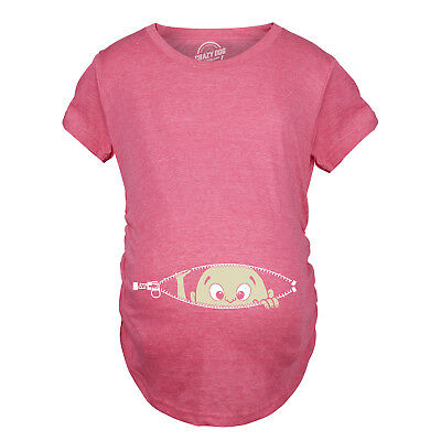 Womens Caucasian Peeking Baby Funny Pregnancy Maternity T-shirt (Heather Pink)
