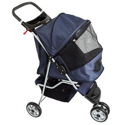 Blue 3-Wheel Pet Jogging Stroller with Storage Basket and Cup Holder Tray