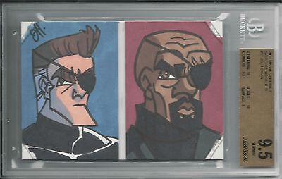 BGS 9.5 2014 Marvel Premier SKETCHES BOOKLET 1/1 Nick Fury/Giant Man Joe Hogan