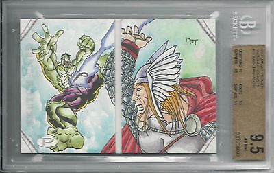 BGS 9.5 2014 Marvel Premier SKETCHES BOOKLET 1/1 Hulk/Thor by Mark Tannacore
