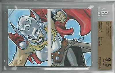 BGS 9.5 2014 Marvel Premier SKETCHES BOOKLET 1/1 Thor by Harold Edge