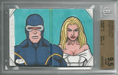 BGS 9.5 2014 Marvel Premier SKETCHES BOOKLET 1/1 Cyclops/White Queen by Ragland