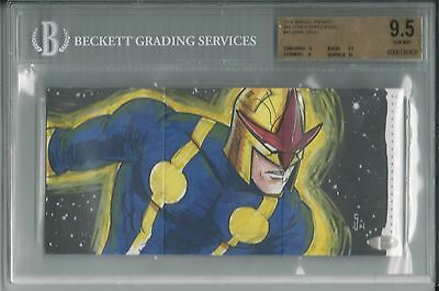 BGS 9.5 2014 Marvel Premier TRIPLE PANEL SKETCH 1/1 Nova by Jamie Snell