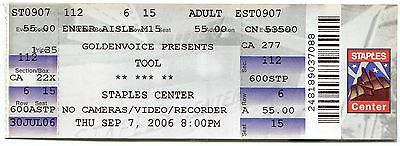 TOOL 9/7/2006 10,000 Days Tour Concert Ticket!! Los Angeles,CA 2006 #1 STAPLES