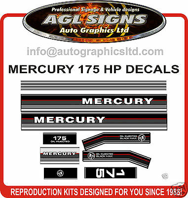 1986 - 1988 MERCURY 175 Black max Outboard decals, 135 150 and 200 hp available