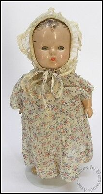 19th - Early 20th Century Composite Sleep Eye Doll with Baby Bonnet & Clothing