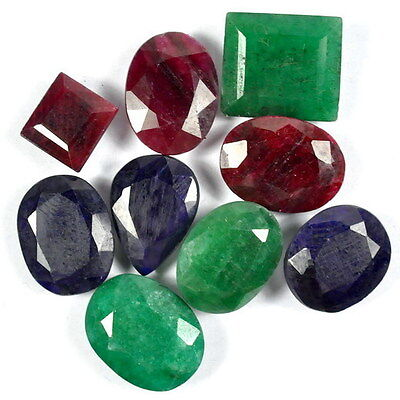 100 Ct 100% Natural Top Quality Ruby Emerald Sapphire 9 Pcs Ring Size Gems Lot