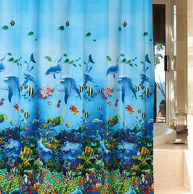 Ocean Sea Life Waterproof Bathroom Fabric Bath Shower Curtain With 12pcs hooks