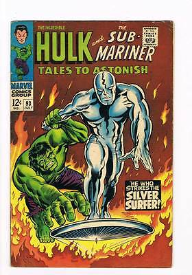 Tales to Astonish # 93 Hulk vs Silver Surfer battle grade 5.0 super scarce !!