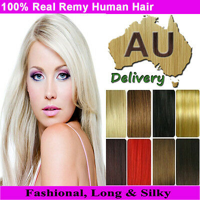 """Real Clip in Remy Human Hair Extensions Full Head Weft 16""""18""""20""""22""""24"""" Promotion"""