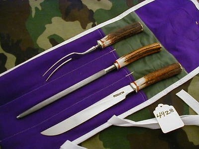 """Randall Knife Knives #6-9"""", 3 Piece Carving Set,ss,nsrh,all-R.s,stag,nsp  #4928"""