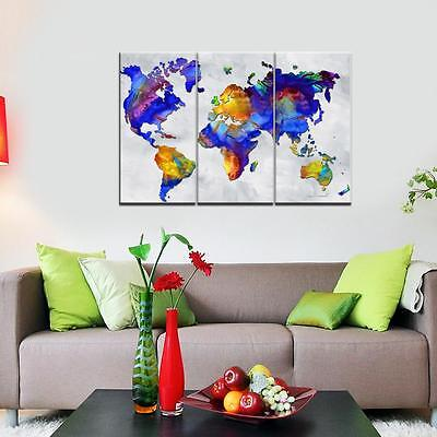 Large Colorful World Map Unframed HD Canvas Print Wall Art Picture Split Poster