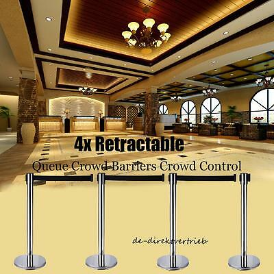 4 X Stainless Crowd Queue Control Safety Barrier Retractable Posts Top Quality