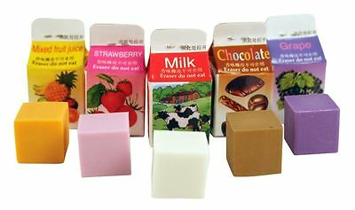 Scented Erasers Fun Set Of 5 Milk Carton Style School Stationery Kikkerland New