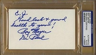 RAY MEYER DePaul Signed Index Card PSA/DNA