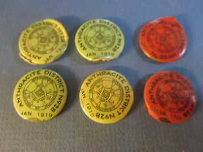 Lot of 6 Old 1919 - ANTHRACITE District Machinists TRADE UNION - Pin / Buttons