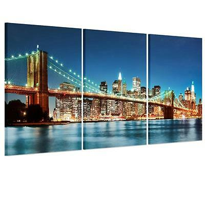 Large City Bridge At Night Unframed HD Canvas Print Wall Art Picture SplitPoster