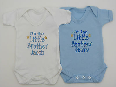 I/'m The Little Brother Baby Grow Vest Babies Clothes Cute Funny Gift Boy Blue