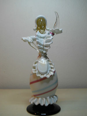 Murano Venetian Lattimo Gold Powder Dancing Girl Figurine Italy